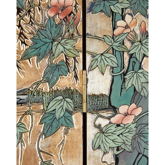 Chinese Export Gilt Coromandel Screen Crane Landscape For Sale - Image 10 of 13