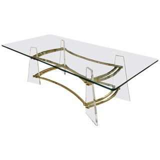 Attractive Vintage Brass and Lucite Cocktail Table by Charles Hollis Jones