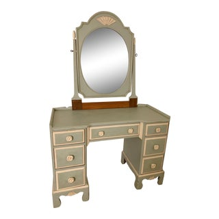 1940s Traditional Davis Cabinet Co. Maple Vanity With Mirror For Sale