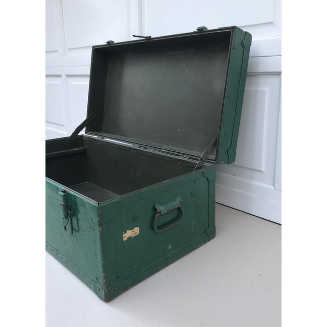Vintage Metal Green Trunk - Image 4 of 6