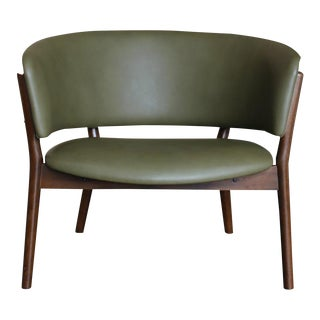 Mid Century Danish Modern Nanna Ditzel Forest Green Leather Lounge Chair For Sale