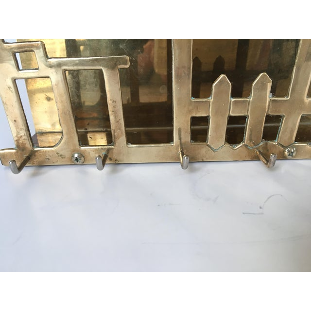 Mid-Century Brass House & Fence Letter Holder and Key Rack For Sale - Image 6 of 9