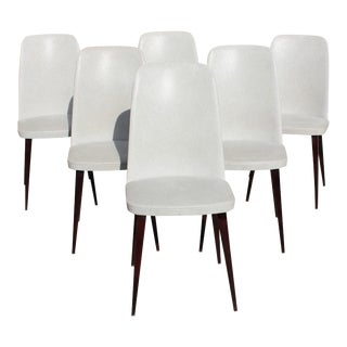 French Art Deco Solid Mahogany Gondola Dining Chairs - Set of 6