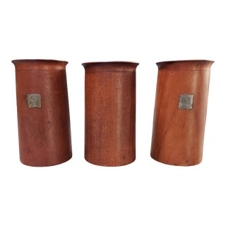 Mid Century Modern Danish Teak Wood Kitchen Containers by Ole Hansen for P. Brost Set of 3 For Sale