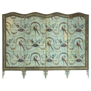 A French Neoclassical Four-Panel Wallpaper Screen For Sale