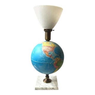 1960s Globe Lamp on Marble Base For Sale