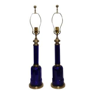 Maison Jansen Cobalt Blue Glass Table Lamps - a Pair For Sale