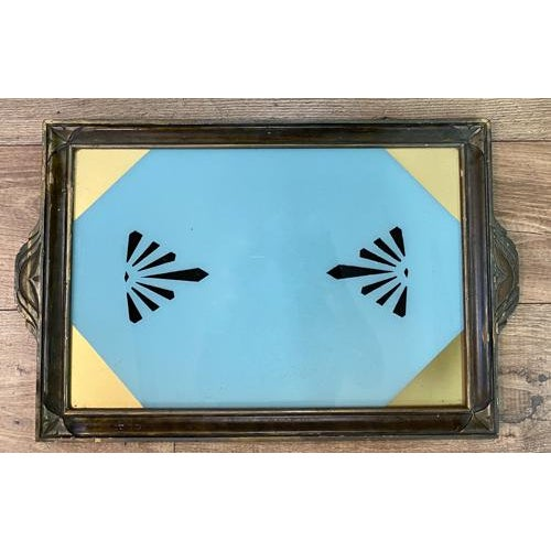Antique Art Deco Reverse Painted Glass Tray For Sale In New York - Image 6 of 6