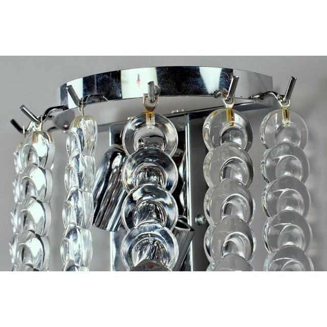 1960s Pair of Murano Glass Sconces With Clear Chain Link Glass Disks For Sale - Image 5 of 11