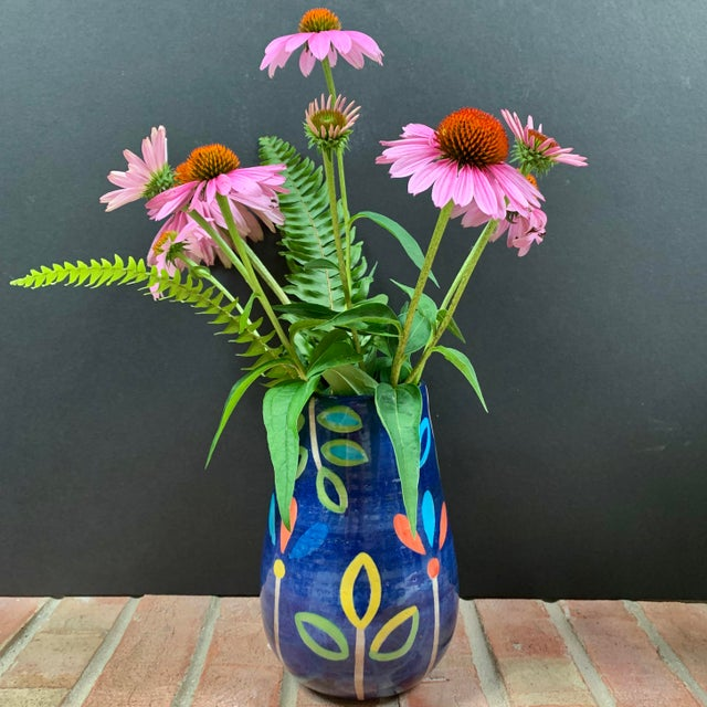 Hand Painted Terra Cotta Blue Vase With Colorful Modern Flowers For Sale In Chicago - Image 6 of 10