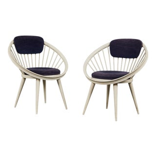 Rare Pair of Circular Chairs by Yngve Ekström for Swedese For Sale