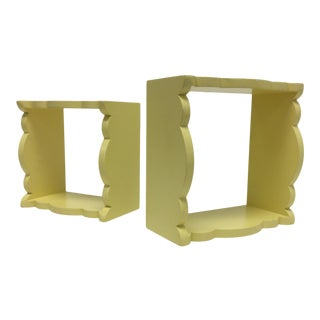 Scalloped Edged Light Yellow Display Wall Hanging Boxes - a Pair For Sale