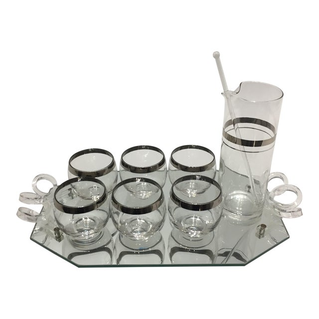 1940s Dorothy Thorpe Cocktail Set 6 Glasses Pitcher Stirrer on Mirror Tray - Set of 9 Pieces For Sale