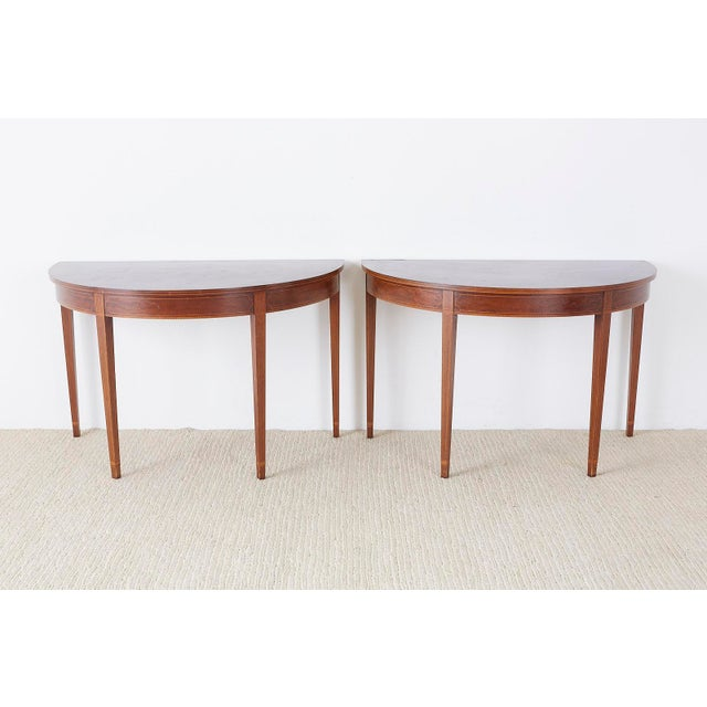 American Hepplewhite Style Demilune Console Tables - a Pair For Sale - Image 12 of 13