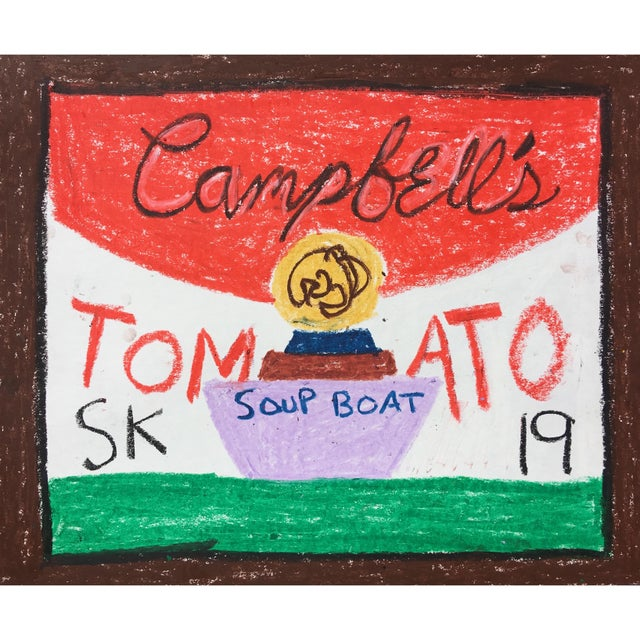 Abstract 'Soup Boat' Oil Pastel Drawing by Sean Kratzert For Sale - Image 3 of 3