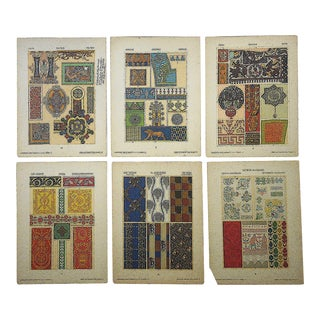 Authentic Antique Lithographs-Ornamental Designs-Set of 6 For Sale
