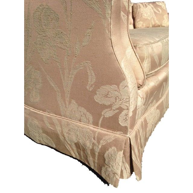Henredon Mid Century Tufted Floral Soft Pink Tonal Sofa - Image 6 of 7