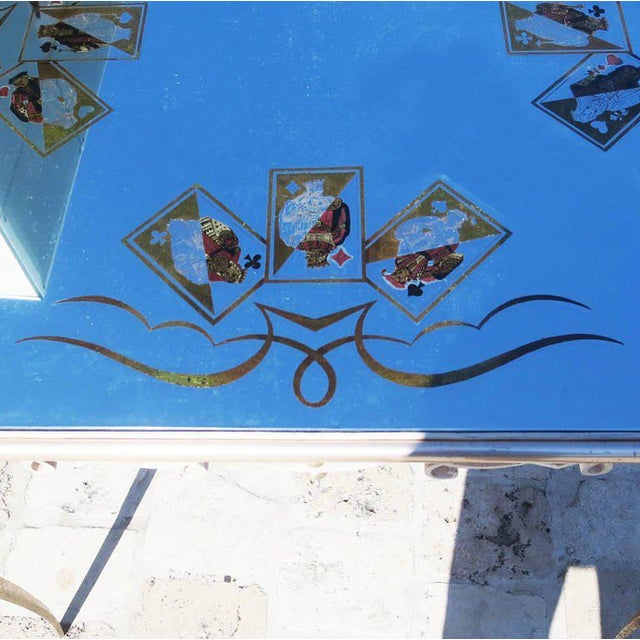 Églomisé Mirrored Game Table in the Manner of Rene Drouet For Sale - Image 4 of 9