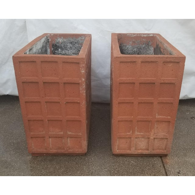 2000s Terracotta Italian Rectangular Planters - a Pair For Sale - Image 5 of 6
