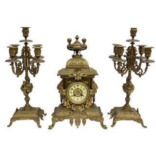 French Japy Freres Gilt Bronze Clock & Candelabra Garniture For Sale