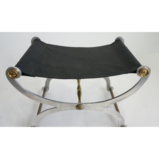 Regency Maison Jansen Style Faux Ostrich Stool $1,250 For Sale - Image 3 of 7
