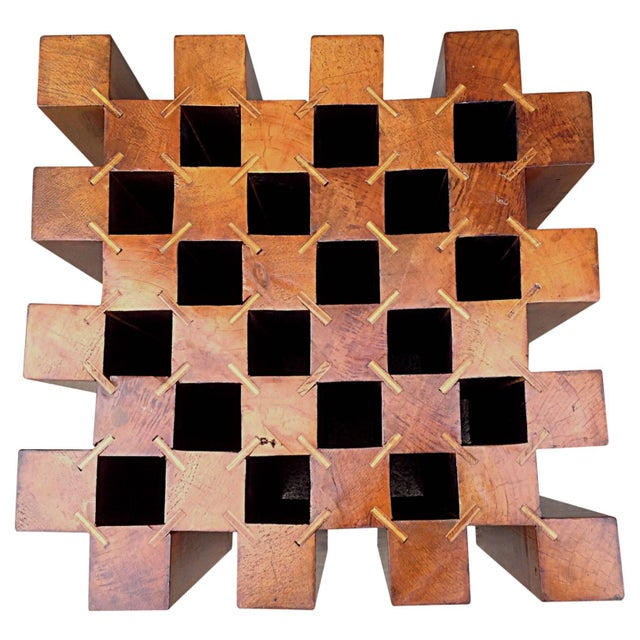 "Exquisite handcrafted ""cube"" game table. Comprised of 32 hand-cut 3.5"" x 3.5"" x 22"" blocks of fir or spruce connected at..."