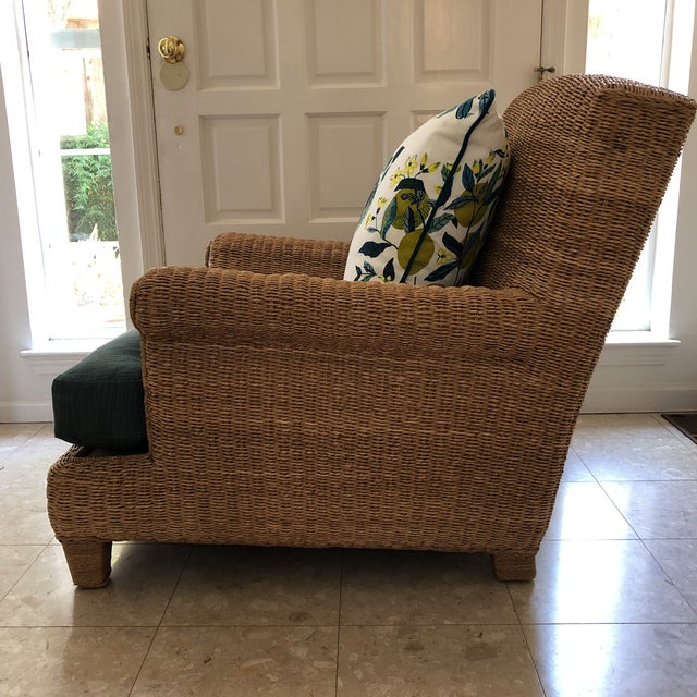 2000 - 2009 Ralph Lauren Herring Net Wicker Armchair With Upholstered Seat and Loose Back Pillow For Sale - Image 5 of 8
