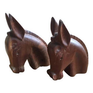 Carved Wooden Horse Head Bookends - a Pair
