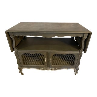 Vintage Graphite Bar Cart Buffet Cart With Glass Top For Sale