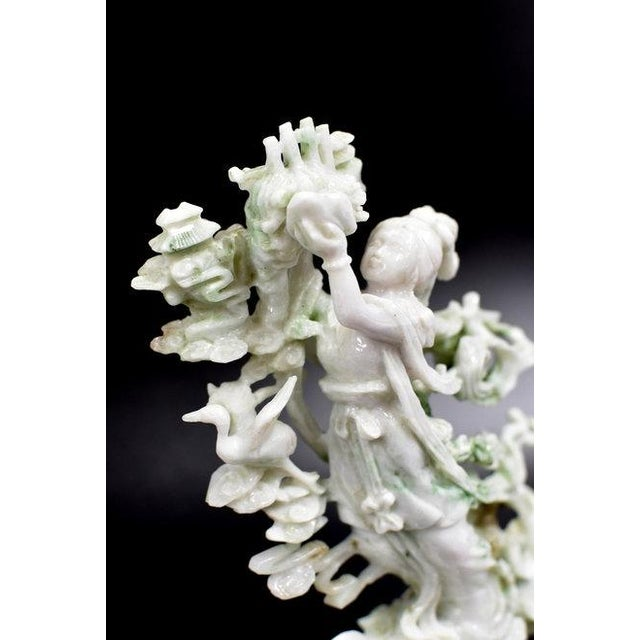 Gemstone Exquisite Jadeite Jade Fairy Statue For Sale - Image 7 of 13