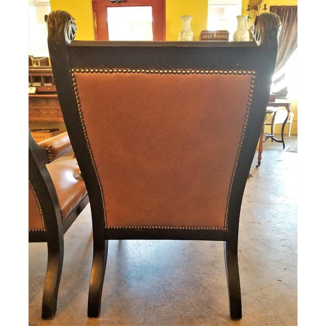 Tan British Dark Walnut Library Chairs With Lions Heads - a Pair For Sale - Image 8 of 11