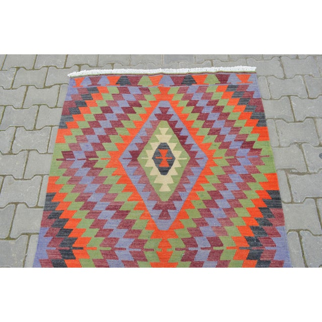 "Handmade Turkish Kilim Runner - 3'8"" X 9'8"" - Image 6 of 10"