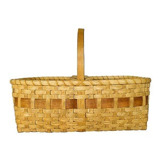 Vintage Large Handmade Black Ash Wood Basket For Sale