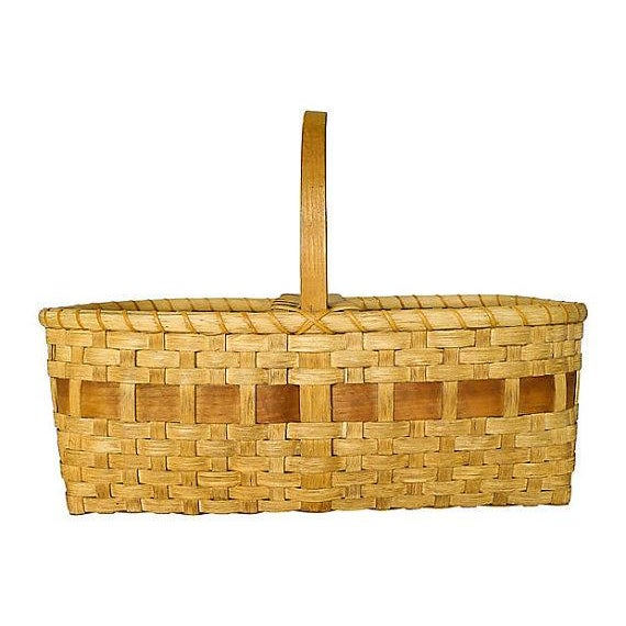 Vintage Large Handmade Black Ash Wood Basket - Image 1 of 5