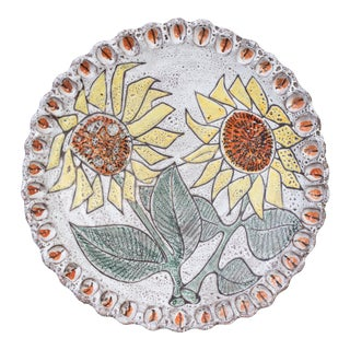 French 1950's Sunflower Ceramic Charger For Sale