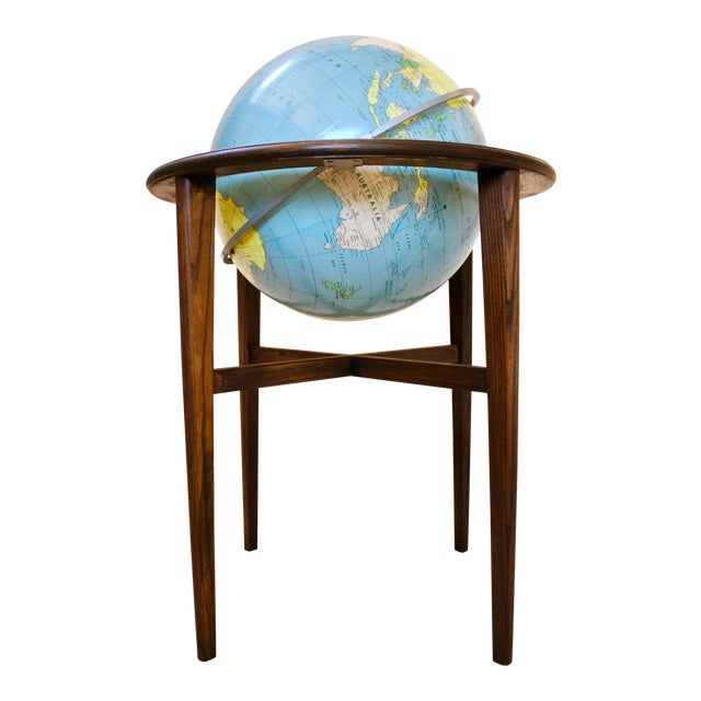 A J Nystrom & Co. 1968 Standing Library Globe For Sale