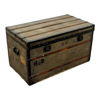 Antique Louis Vuitton j.c.d. Initialed French Trunk Luggage For Sale
