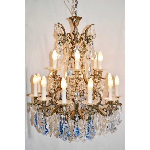 Italian Rococo style bronze chandelier with blue and clear crystals / Made in Italy circa 1930's 18 lights / E14 type /...