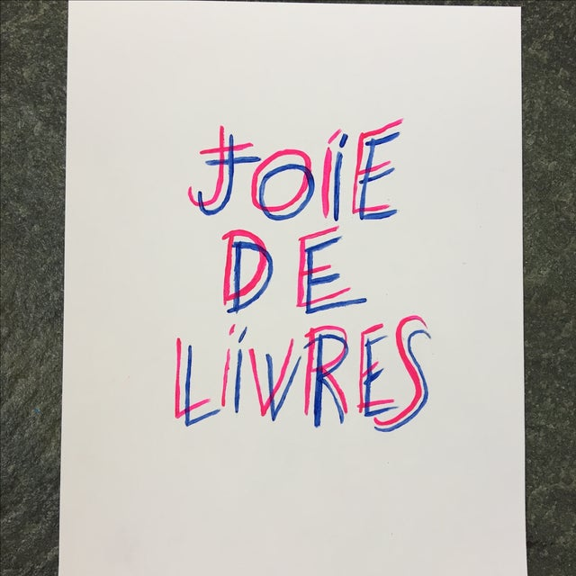 "Beautiful, modern print that features ""Joie De Livres"" in hand painted hot pink and blue lettering. Very legible. Handmade..."
