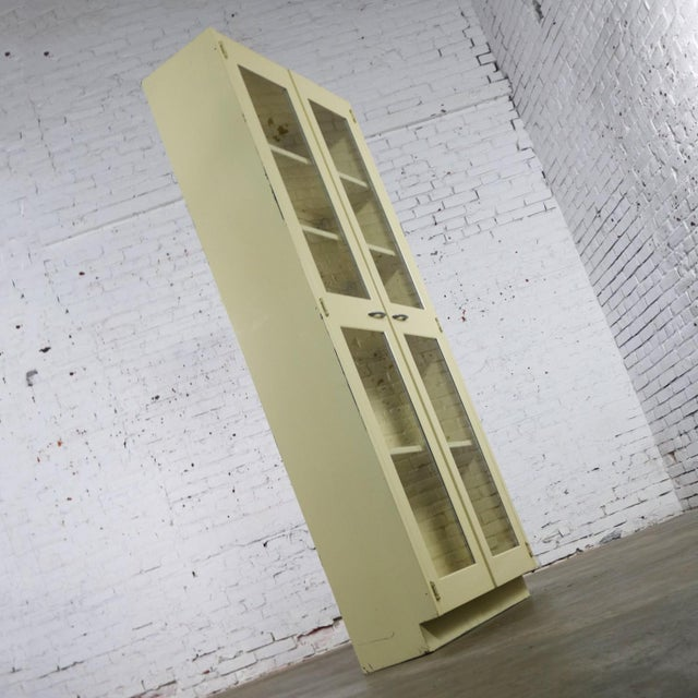 Industrial Metal 36 Inch Wide Display Cabinet or Bookcase With Glass Doors For Sale - Image 4 of 13