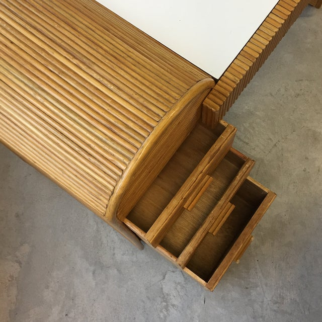 1980s Monumental Split Reed/Bamboo Writing Table or Desk For Sale - Image 10 of 13