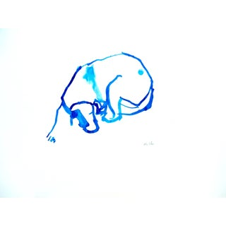 """""""Blue Dog"""" Contemporary Abstract Ink Drawing For Sale"""