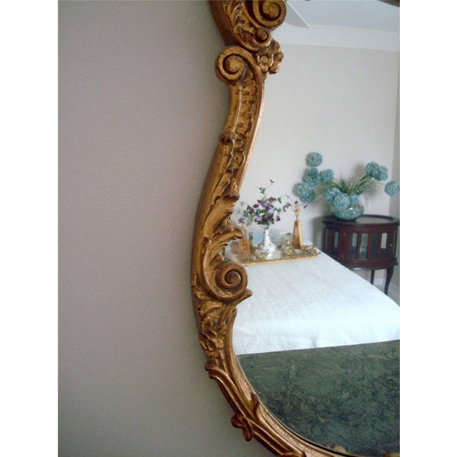 French Style Gold Gilt Wood Hand Painted Wall Mirror For Sale In Tampa - Image 6 of 10