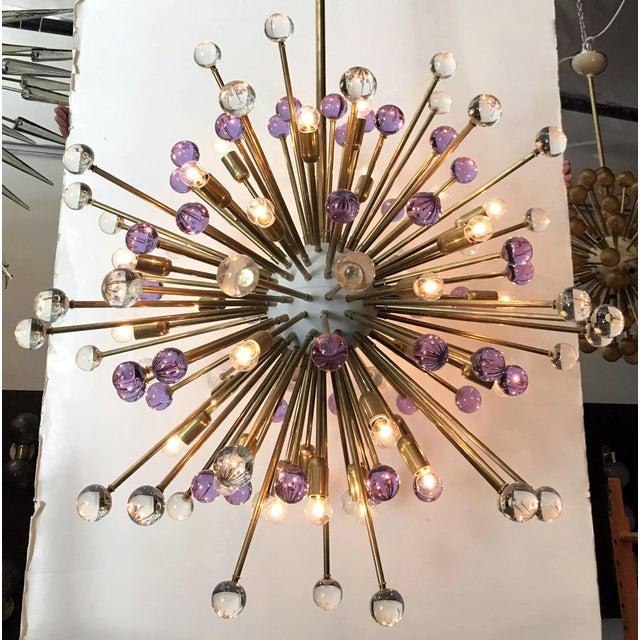 Fabio Ltd Clear and Purple Burst Sputnik by Fabio Ltd. For Sale - Image 4 of 10