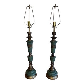 Mid-Century Green Marble & Brass Table Lamps - A Pair For Sale
