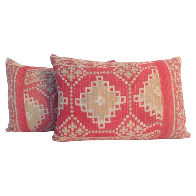 Vintage Block Print Kantha Quilt Pillows - A Pair For Sale