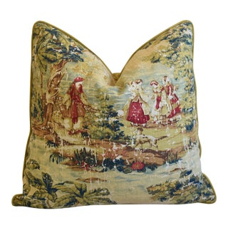 """Romantic French Country Toile Linen & Velvet Feather/Down Pillow 24"""" Square For Sale"""