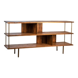 Teak / Brass Console Shelf For Sale