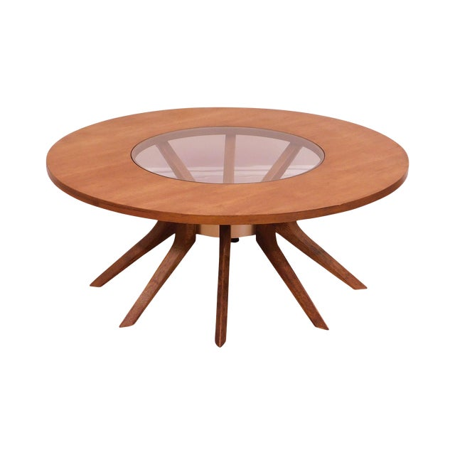 Broyhill Brasilia Mid Century Modern Walnut Cathedral Coffee Table For Sale