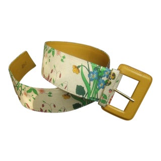 Gucci Italy Rare Wide Cloth Flora Belt C 1980 For Sale